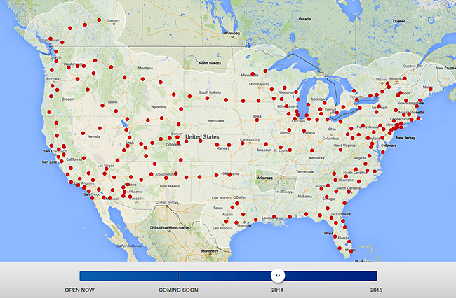 tesla Motors super charger map