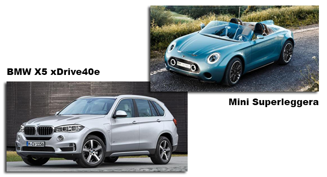 Mini Superleggera och BMW X5 xDrive40e